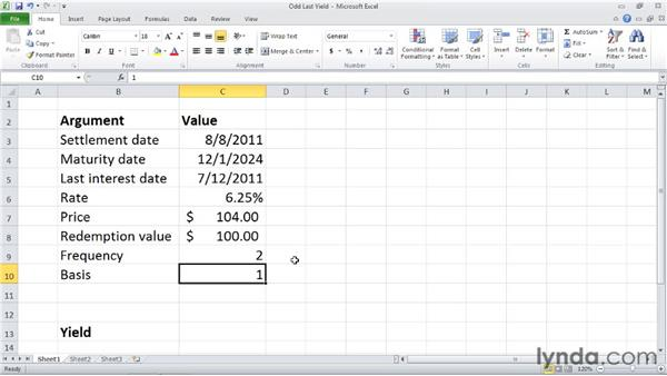 ODDLYIELD: Calculating the yield of a security with an odd last period : Excel 2010: Financial Functions in Depth