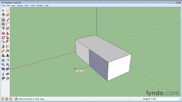 Refining objects with the Line tool: SketchUp 8 Essential Training