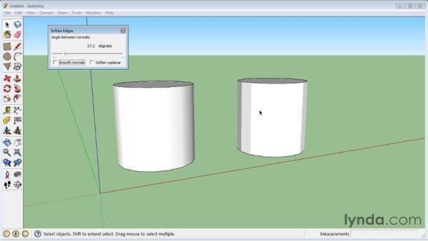 Softening round edges : SketchUp 8 Essential Training