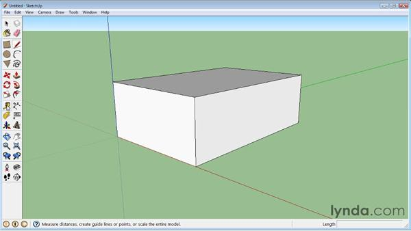 Using the Tape Measure tool: SketchUp 8 Essential Training