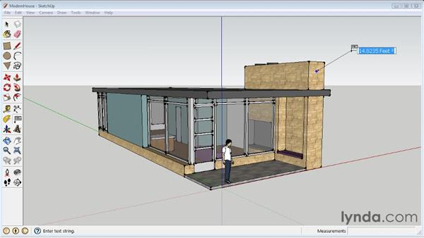 Creating text labels: SketchUp 8 Essential Training