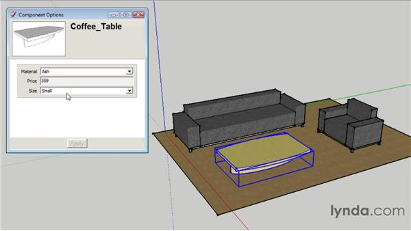 Using the Component Options window : SketchUp 8 Essential Training