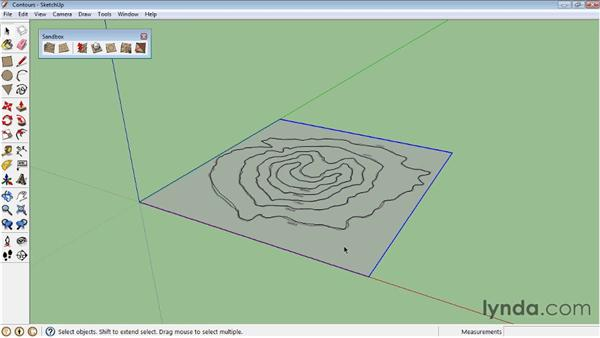 Creating terrain from contours : SketchUp 8 Essential Training