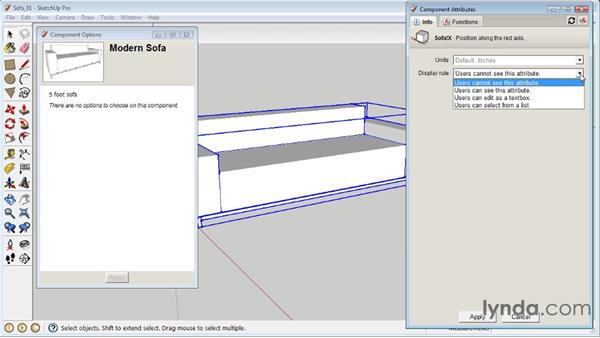 Exposing component attributes : SketchUp 8 Essential Training