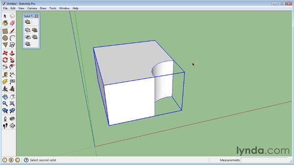 Using Boolean operations (Union, Intersect, Subtract): SketchUp 8 Essential Training