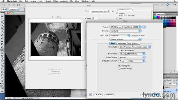 Configuring the Print dialog: Foundations of Photography: Black and White