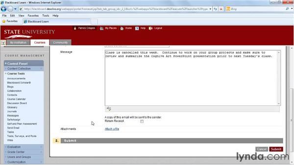 Sending emails: Blackboard 9.x Essential Training for Instructors