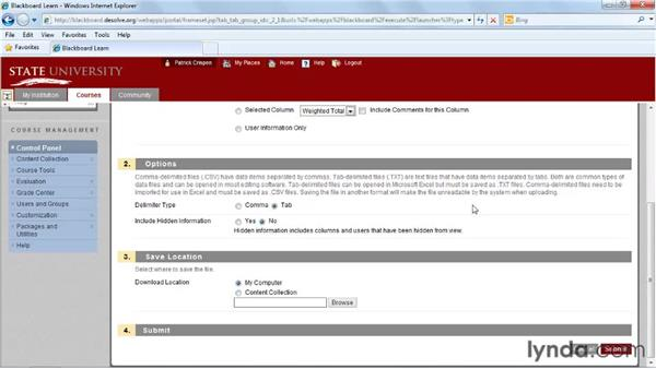 Downloading the Grade Center: Blackboard 9.x Essential Training for Instructors