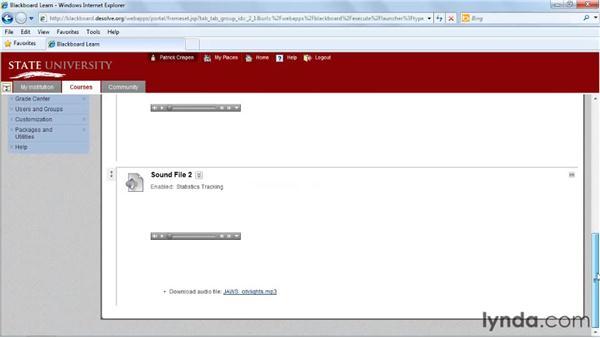 Inserting a multimedia file: Blackboard 9.x Essential Training for Instructors