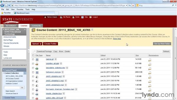 Using the Content Collection: Blackboard 9.x Essential Training for Instructors