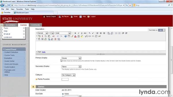 Creating text columns: Blackboard 9.x Essential Training for Instructors