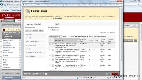 Reusing questions: Blackboard 9.x Essential Training for Instructors