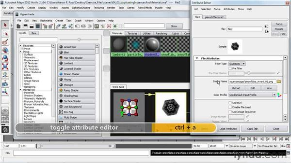 Duplicating instances and materials: Creating Particle and Fire Effects with Maya