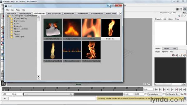 Loading fluid examples: Creating Particle and Fire Effects with Maya