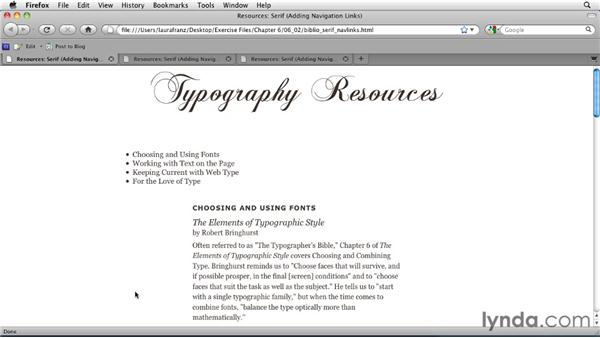 Adding a list of links to the traditional page: Typography for Web Designers