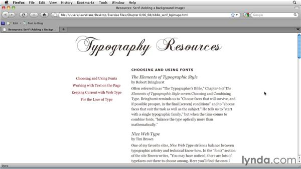Applying a repeating background image: Typography for Web Designers