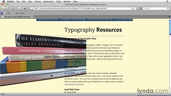Applying a no-repeat background image: Typography for Web Designers