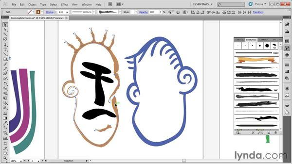 Drawing with the brush tools: Up and Running with Illustrator