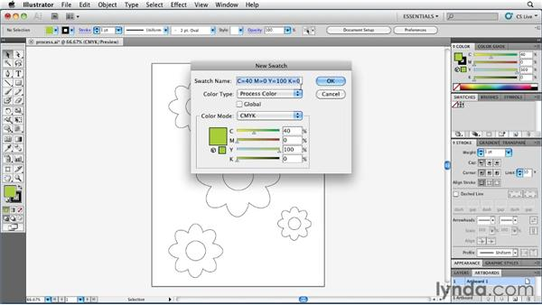 Defining and using process colors: Illustrator Insider Training: Coloring Artwork