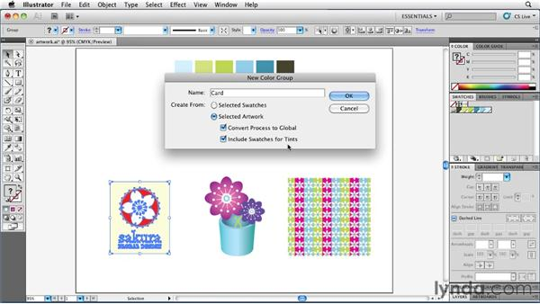 Creating swatches and groups from artwork: Illustrator Insider Training: Coloring Artwork