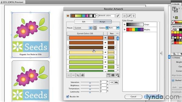 Remapping colors in an illustration: Illustrator Insider Training: Coloring Artwork