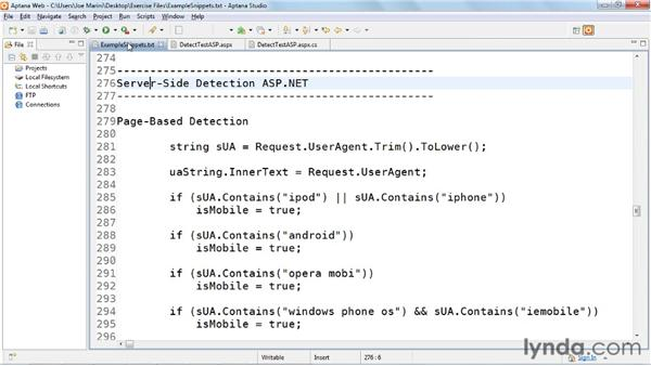 Using server-side detection with ASP.NET: Mobile Web Design & Development Fundamentals