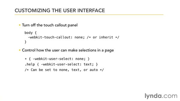 Customizing the user interface: Mobile Web Design & Development Fundamentals