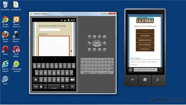 Viewing and testing the mobile site on emulators: Mobile Web Design & Development Fundamentals