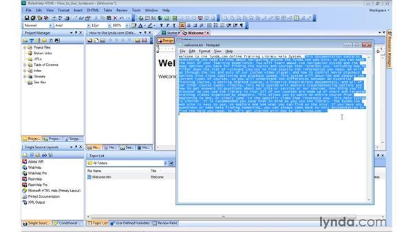 Managing topics: RoboHelp 9 HTML Essential Training
