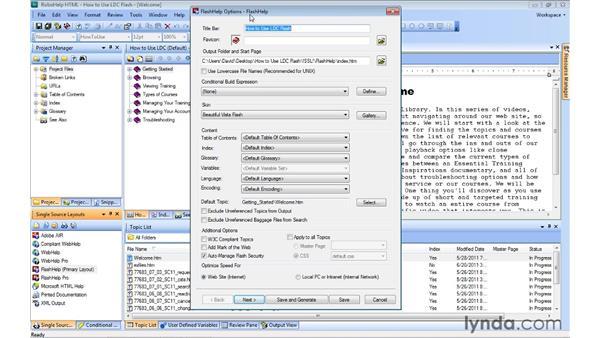 Generating FlashHelp output: RoboHelp 9 HTML Essential Training