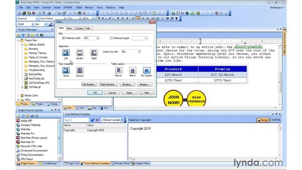 Modifying table properties: RoboHelp 9 HTML Essential Training