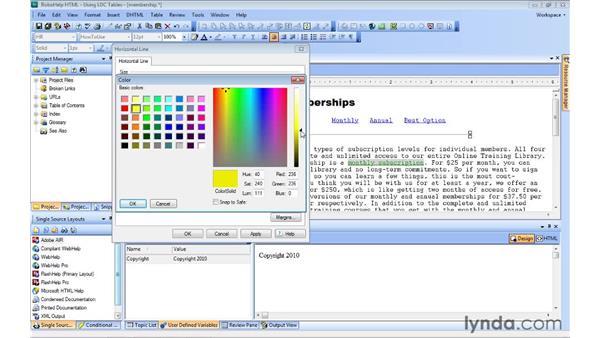 Adding lines and symbols: RoboHelp 9 HTML Essential Training