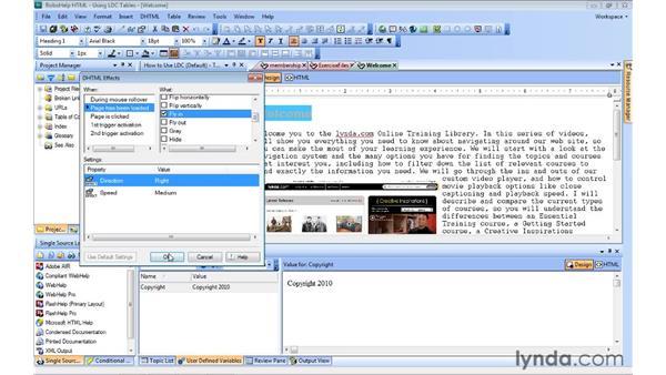 Applying DHTML effects: RoboHelp 9 HTML Essential Training