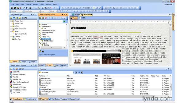 Adding subkeywords to an index: RoboHelp 9 HTML Essential Training