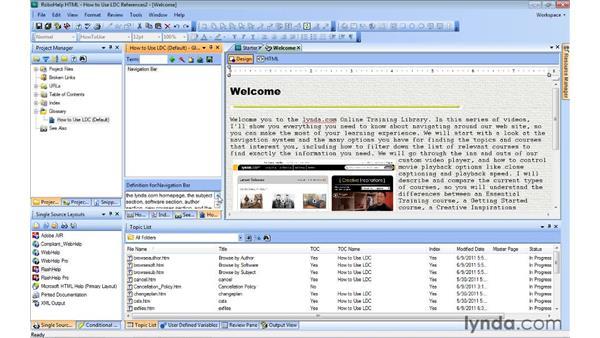 Adding glossary terms: RoboHelp 9 HTML Essential Training