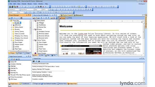 Splitting your help screen using frames: RoboHelp 9 HTML Essential Training
