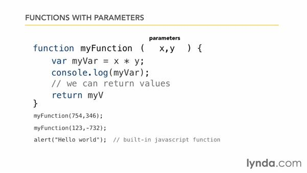Creating functions: JavaScript Essential Training