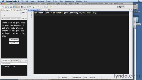 Accessing DOM elements: JavaScript Essential Training