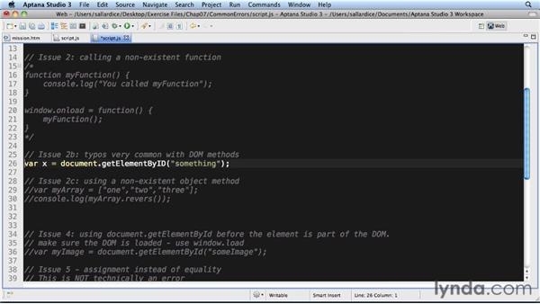 Common JavaScript errors: JavaScript Essential Training