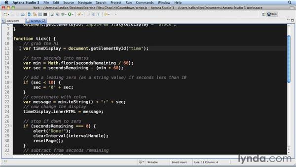 Example: Countdown: JavaScript Essential Training
