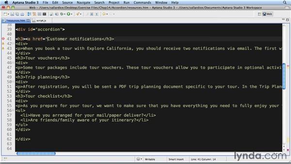 Example: Accordion: JavaScript Essential Training