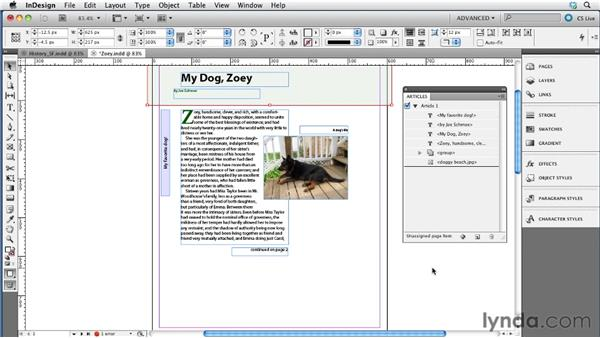 Using the Articles panel to manage content flow: InDesign CS5.5 to EPUB, Kindle, and iPad