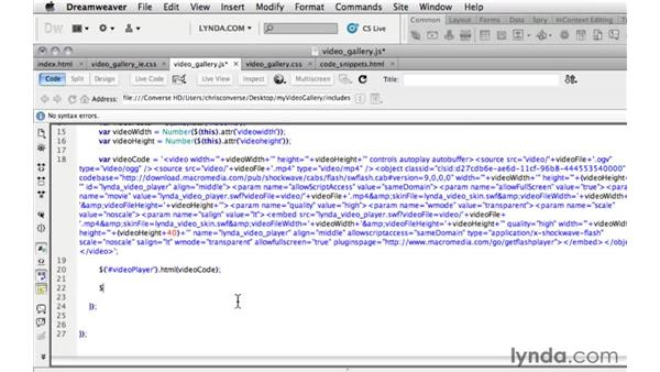 Updating HTML5 video code and playing video in the lightbox: Create an HTML5 Video Gallery with jQuery and Dreamweaver