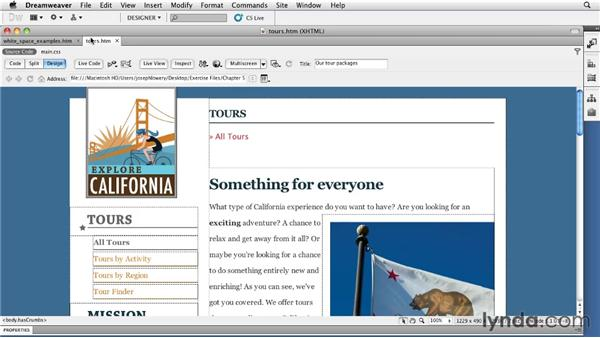Utilizing white space effectively: Typography with CSS in Dreamweaver