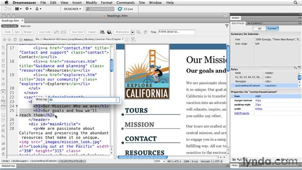 Implementing advanced headings with HTML5: Typography with CSS in Dreamweaver