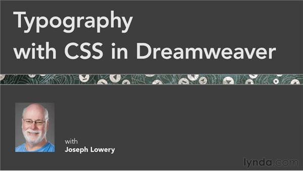 : Typography with CSS in Dreamweaver