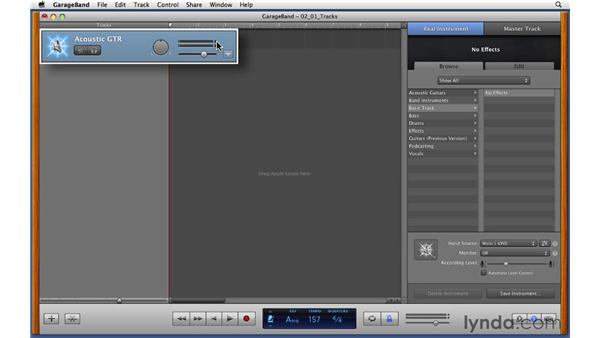 Exploring Real Instrument tracks and setting a good input level: GarageBand '11 Essential Training