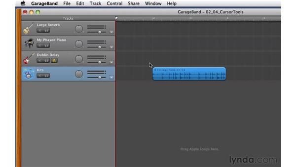 Positioning the cursor on audio regions to access different tools: GarageBand '11 Essential Training