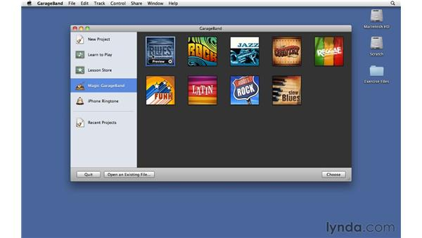 Choosing a genre in the Project Chooser: GarageBand '11 Essential Training