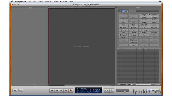 Browsing and filtering the Apple Loops library: GarageBand '11 Essential Training